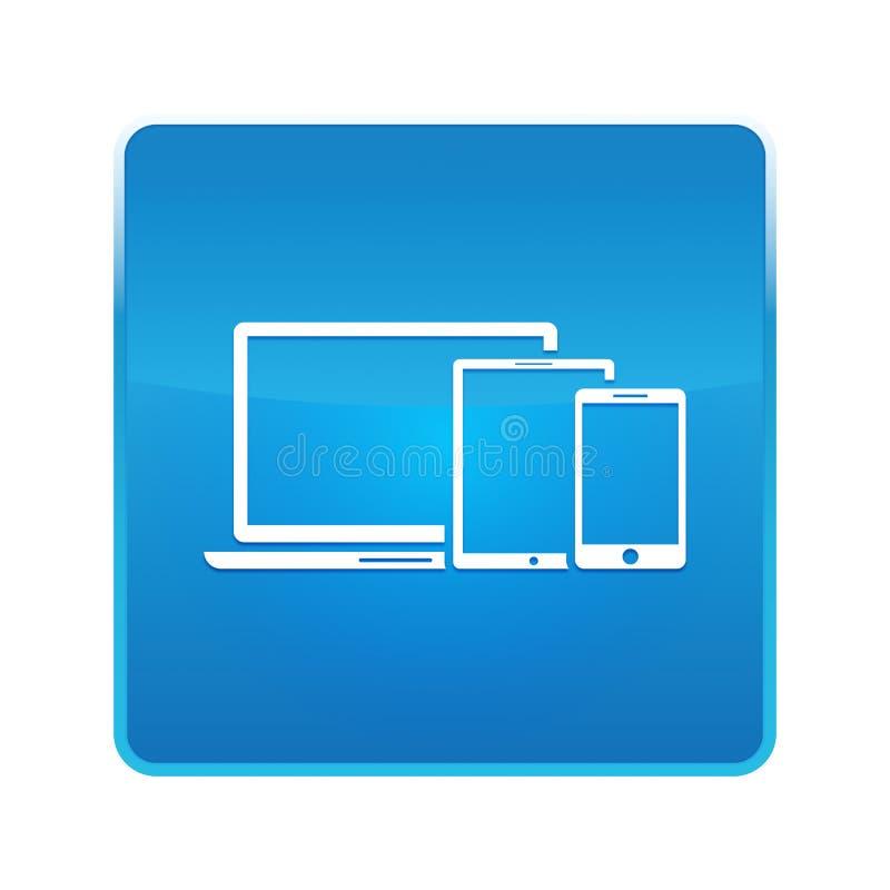 Digital smart devices icon shiny blue square button. Digital smart devices icon isolated on shiny blue square button vector illustration