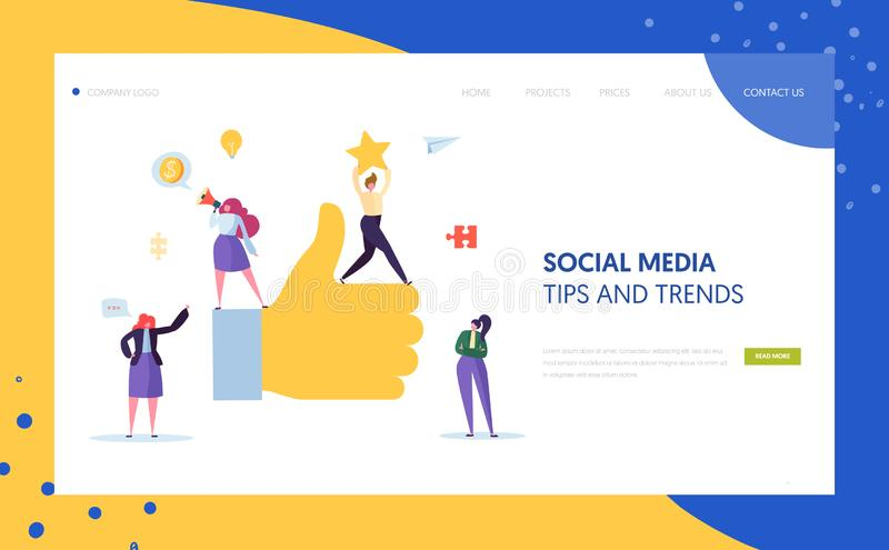 Digital Social Marketing Character Landing Page Design. Advertising Agency Teamwork for Online Strategy Development. Concept for Website Template. Flat Cartoon royalty free illustration