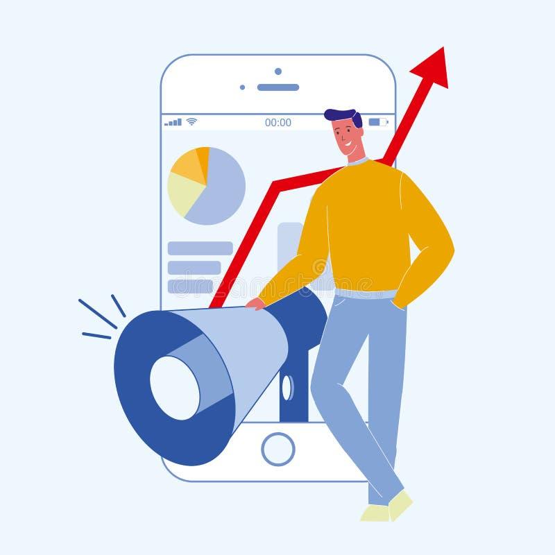 Digital, Social Media, das Farbillustration vermarktet stock abbildung