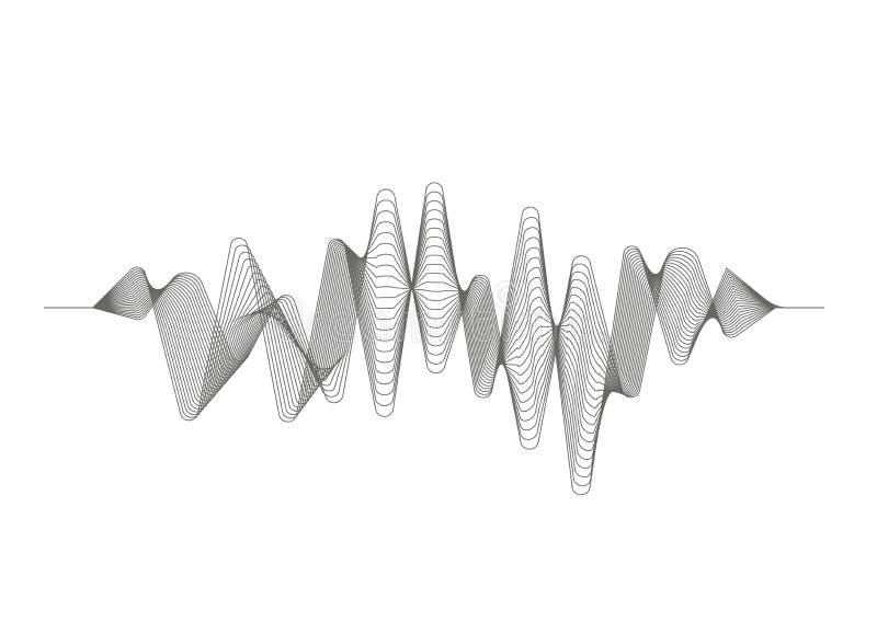 Digital solid våg Ljudsignal utjämnare Musikalisk puls Vektormusikvåg stock illustrationer