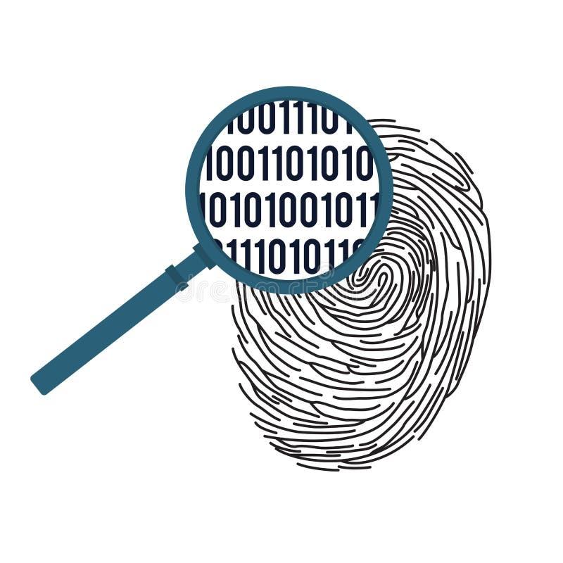Digital som identifierar med fingeravtryck begrepp royaltyfri illustrationer