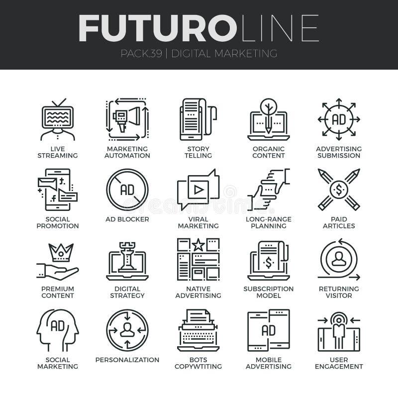 Digital som marknadsför den Futuro linjen symbolsuppsättning royaltyfri illustrationer