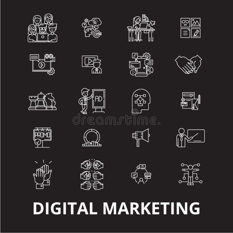 Digital som marknadsför den redigerbara linjen symbolsvektoruppsättning på svart bakgrund Digital som marknadsför vita översiktsi royaltyfri illustrationer