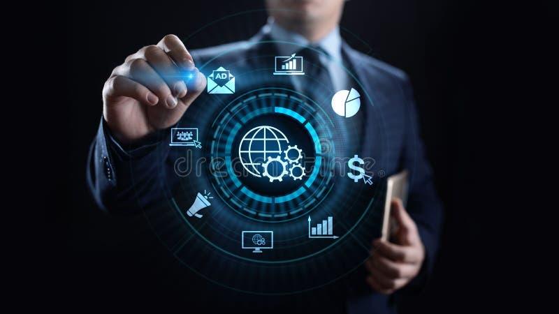 Digital som marknadsför internetannonsering, och försäljningar ökar affärsteknologibegrepp royaltyfria bilder