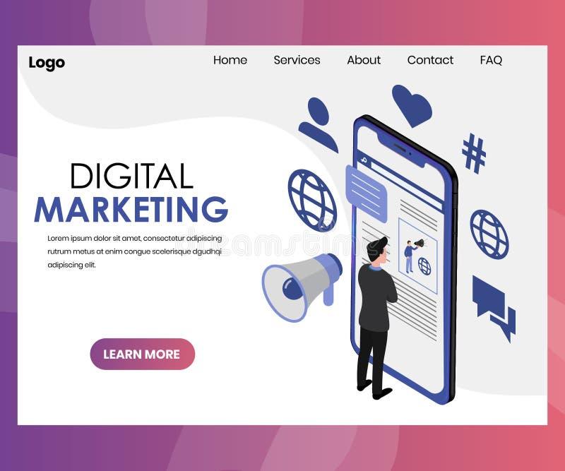 Digital som marknadsför landningsidadesign royaltyfri illustrationer