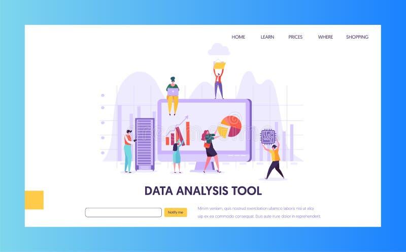 Digital som marknadsför sidan för analysforskninglandning Seo Strategy Analyzing för affärstillväxt vid det idérika teckenet vektor illustrationer