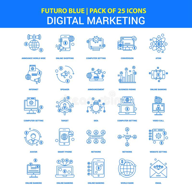 Digital som marknadsför symboler - packe Futuro blå för 25 symbol vektor illustrationer