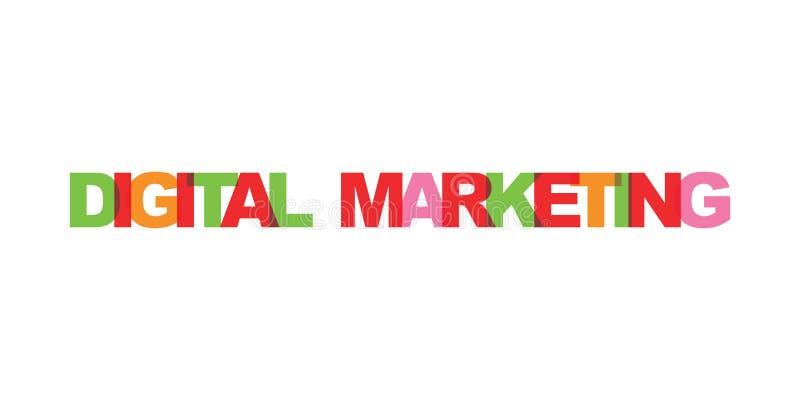 Digital som marknadsför text för affärskort Modern bokst?veraffisch Symbol för slogan för färgordkonst Beståndsdelar för design f royaltyfri illustrationer