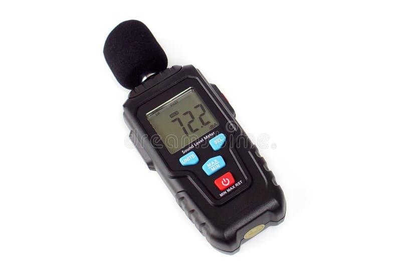 Digital Sound Level Meter. Hand-held decibel meter for acoustic measurements stock image
