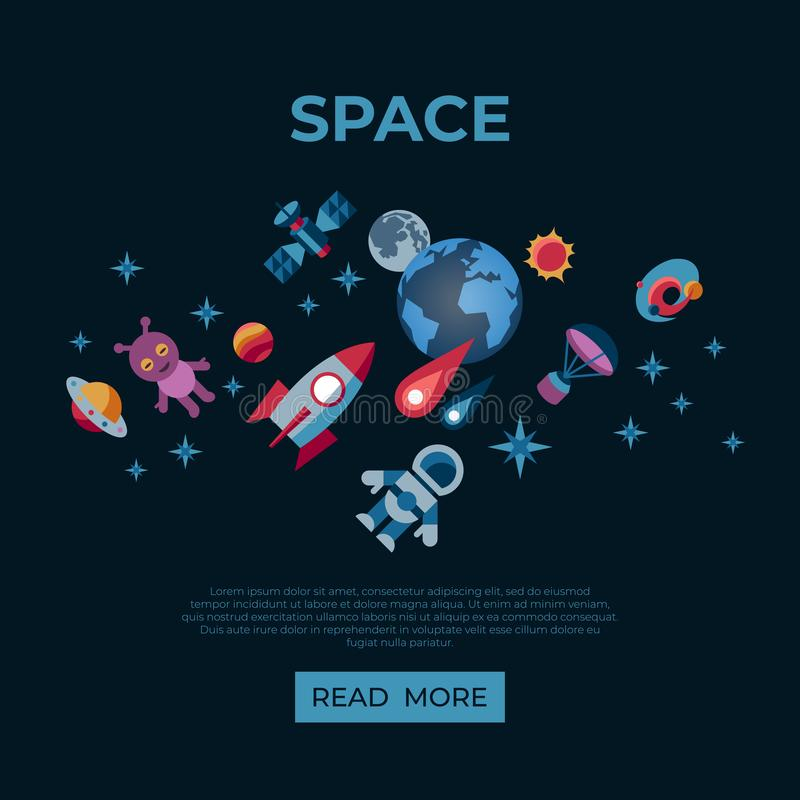 Digital space galaxy and universe icons royalty free illustration