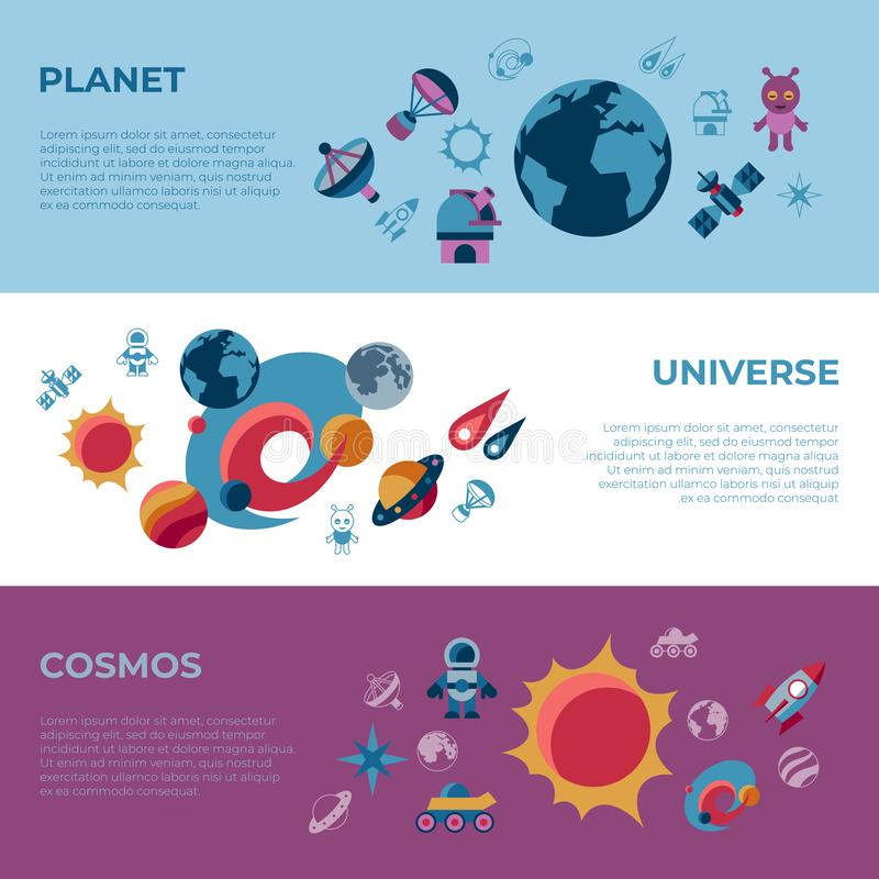 Digital space galaxy and universe icons stock illustration