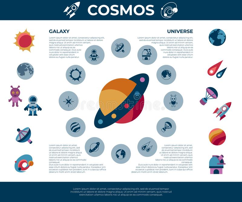 Digital space galaxy and universe icons vector illustration
