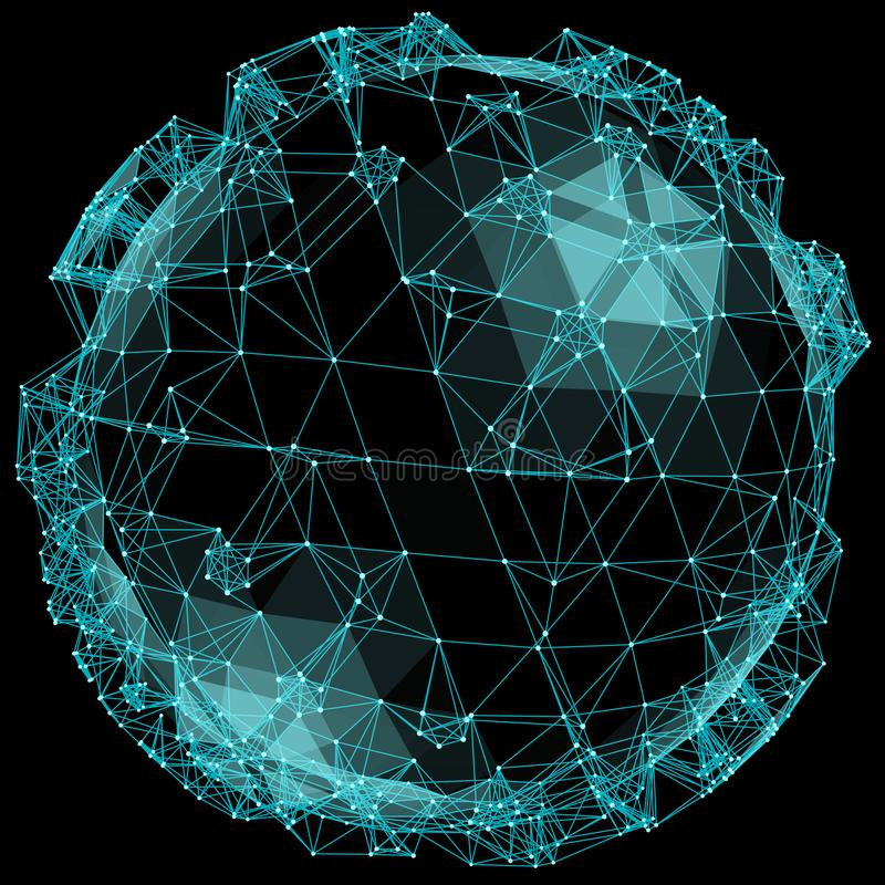 Abstract spherical network illustration on black background. royalty free illustration