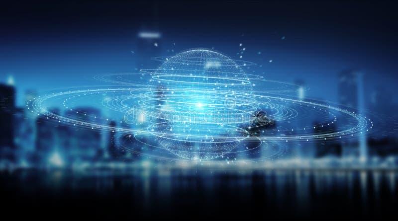 Digital sphere connection hologram 3D rendering. Digital sphere connection hologram on blue city background 3D rendering royalty free illustration