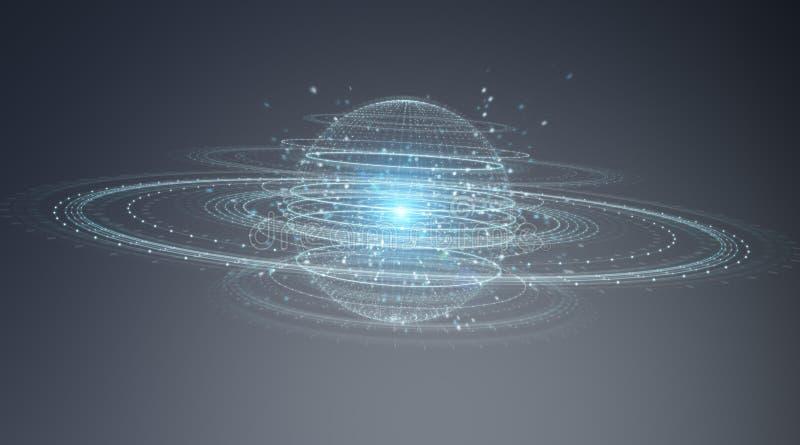 Digital sphere connection hologram 3D rendering. Digital sphere connection hologram on blue grey background 3D rendering vector illustration