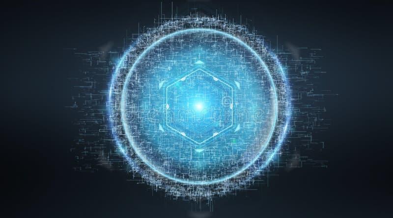 Digital sphere connection hologram 3D rendering. Digital sphere connection hologram on blue grey background 3D rendering stock illustration