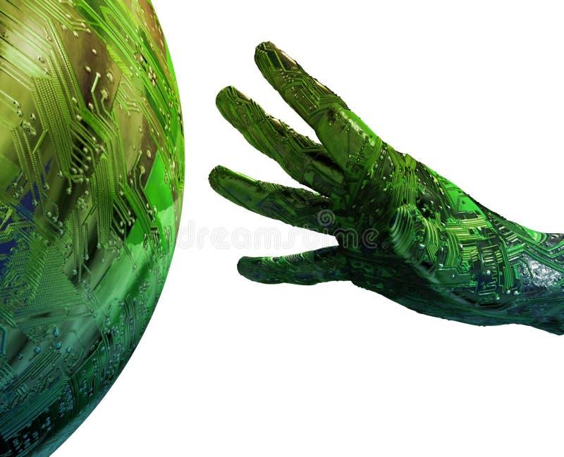 digital sphere för cyber 3d stock illustrationer