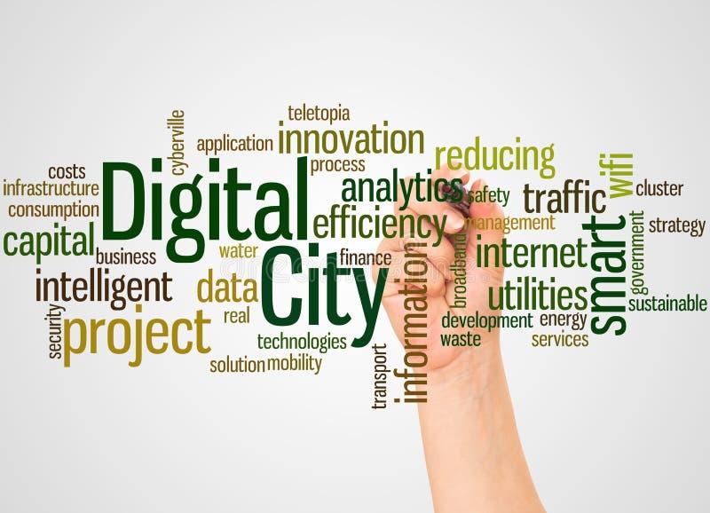 Digital-Stadtwortwolke und -hand mit Markierungskonzept lizenzfreie abbildung
