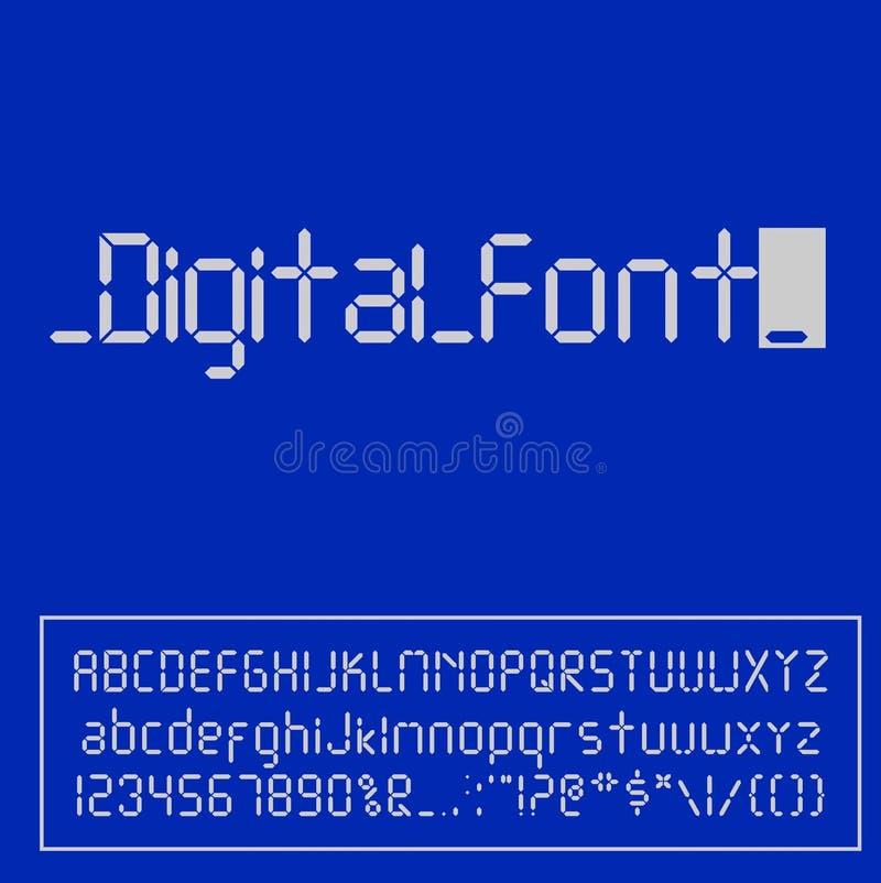 Digital stilsort Ringklockabokstäver Nummer och bokstäver ställde in för en digital klocka och andra elektroniska apparater vekto stock illustrationer