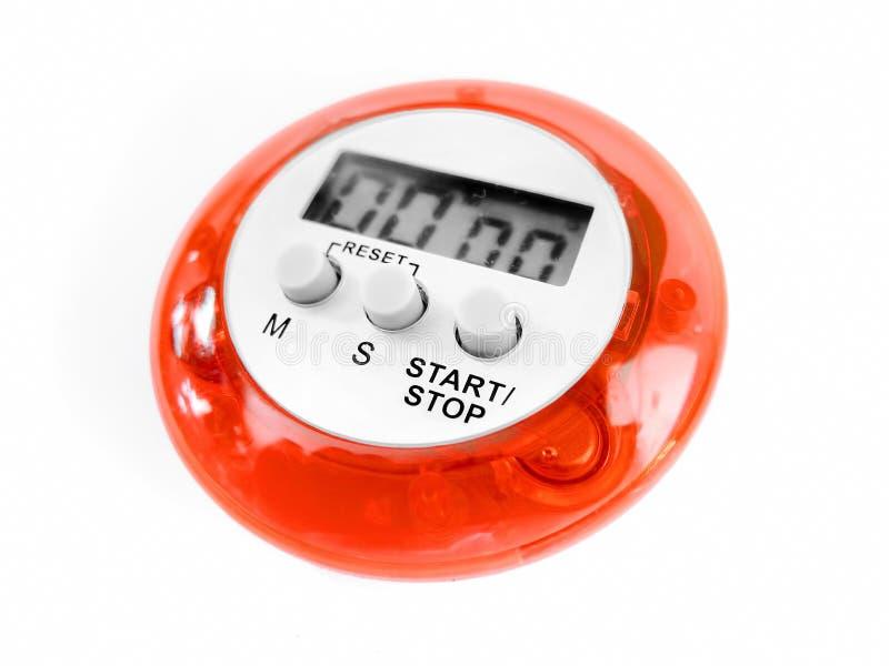 Digital stopwatch isolated on white background. Electronics stock photo
