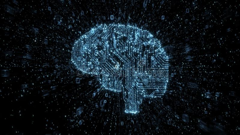 Digital strömkretshjärna med strömmar av explosion av binära data vektor illustrationer