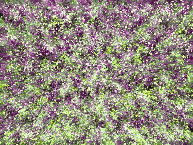 Digital-Sturm von violetten und grünen Elementen lizenzfreie abbildung
