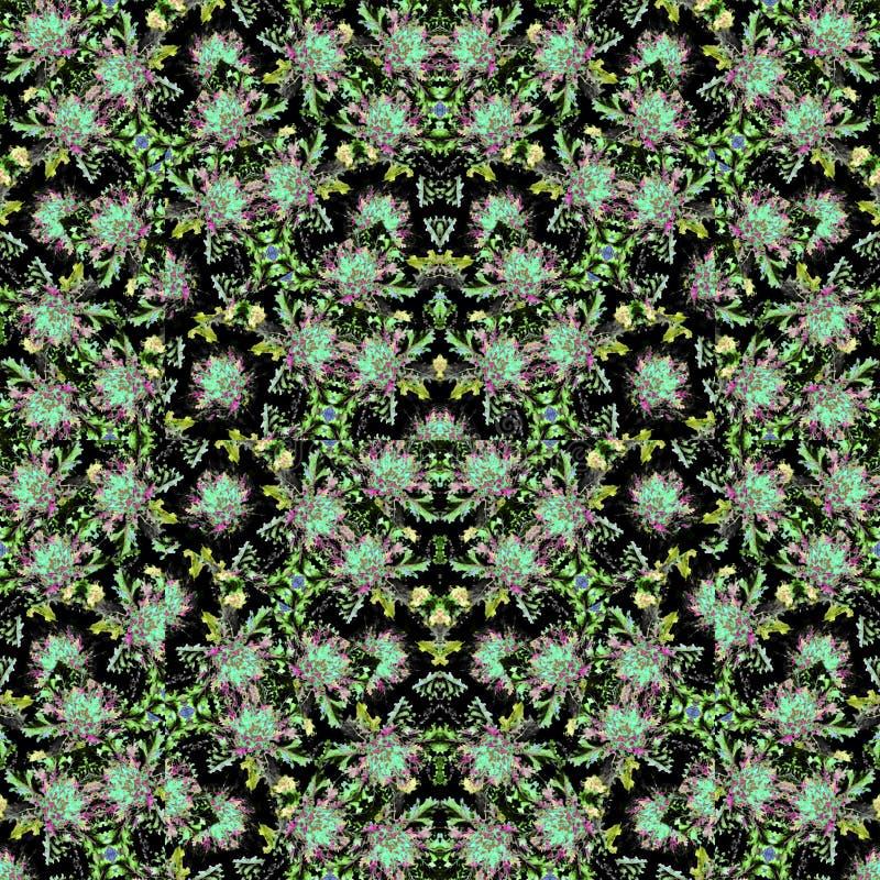 Dark Nature Intricate Boho Seamless Pattern stock photos