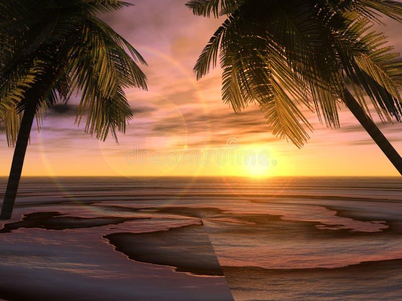 Download Digital sunset stock illustration. Image of beach, trees - 2249535