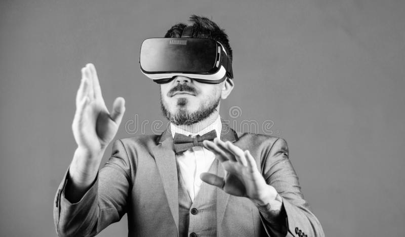 Digital surface interaction. Business man virtual reality. Innovation and technological advances. Business implement. Modern technology. Businessman explore stock photography