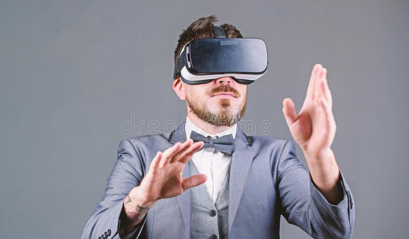 Digital surface interaction. Business man virtual reality. Innovation and technological advances. Business implement. Modern technology. Businessman explore stock photos