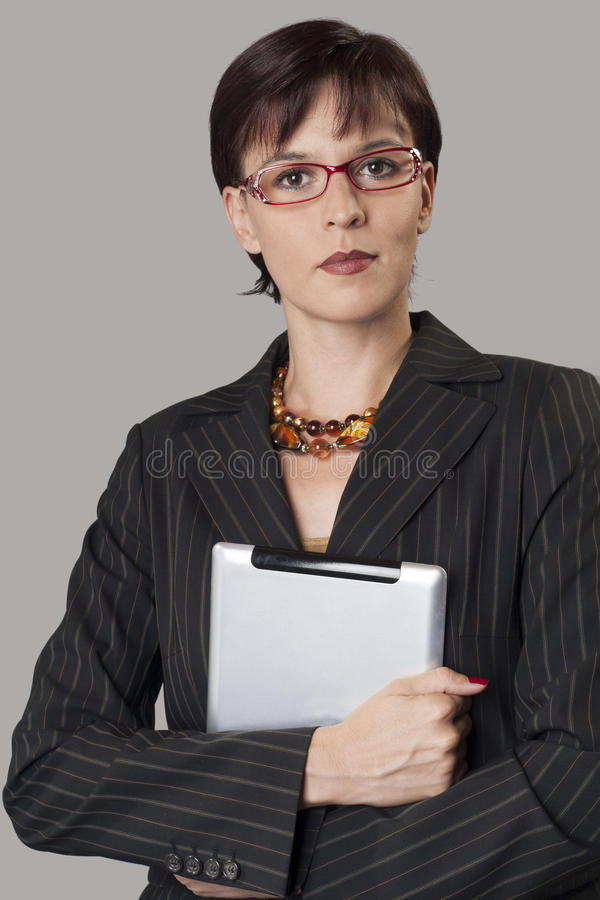 Download Digital Tablet And Beautiful Businesswoman Stock Image - Image: 27595143