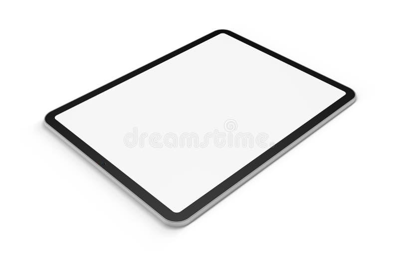 Digital tablet graphics element. On white background with display mask, 3D render stock illustration