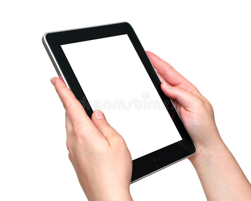 Digital tablet in hands royalty free stock image