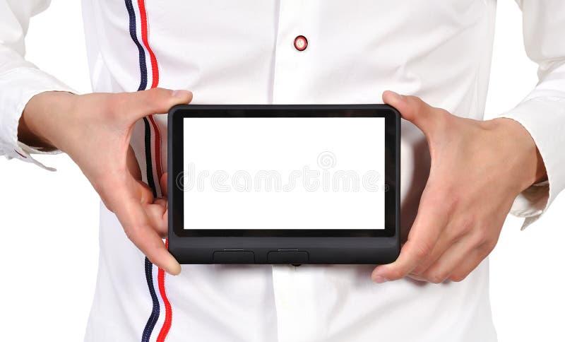 Download Digital tablet i hand fotografering för bildbyråer. Bild av skärm - 27275455