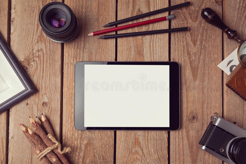 Digital tablet mock up for artwork or app design presentation. View from above royalty free stock photo
