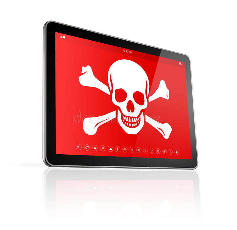 Digital tablet PC with a pirate symbol on screen. Hacking concep stock illustration