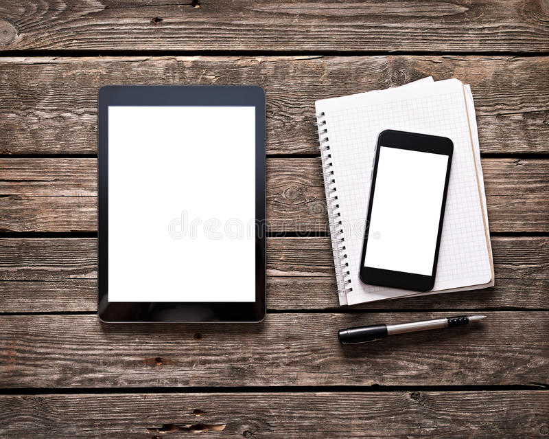 Digital tablet with phablet and notepad stock images