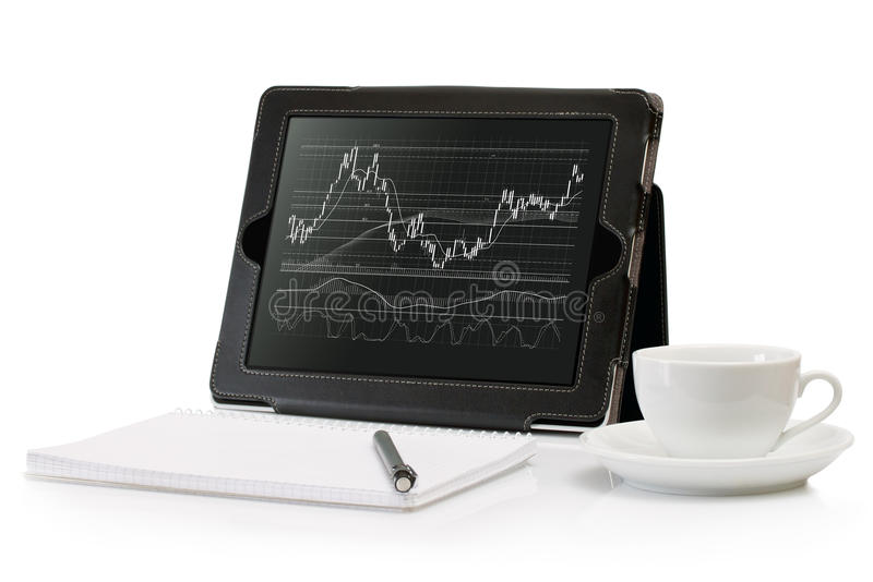 Download Digital Tablet With A Stock Chart Stock Photo - Image of macro, banking: 22739982