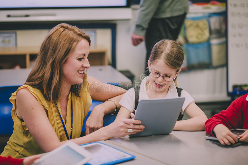 Digital Tablets In The Classroom stock image