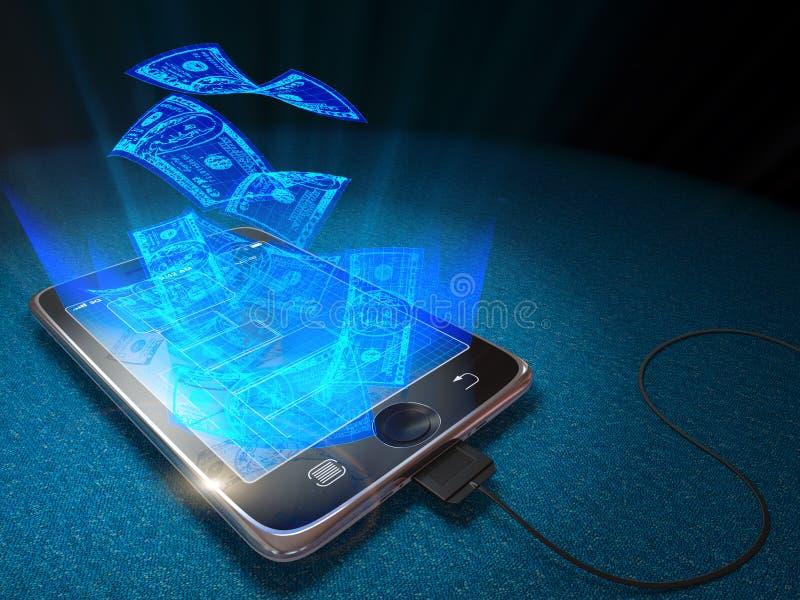 Digital-Tablette und -währung als Netzgeld und Geschäftskonzept lizenzfreie abbildung