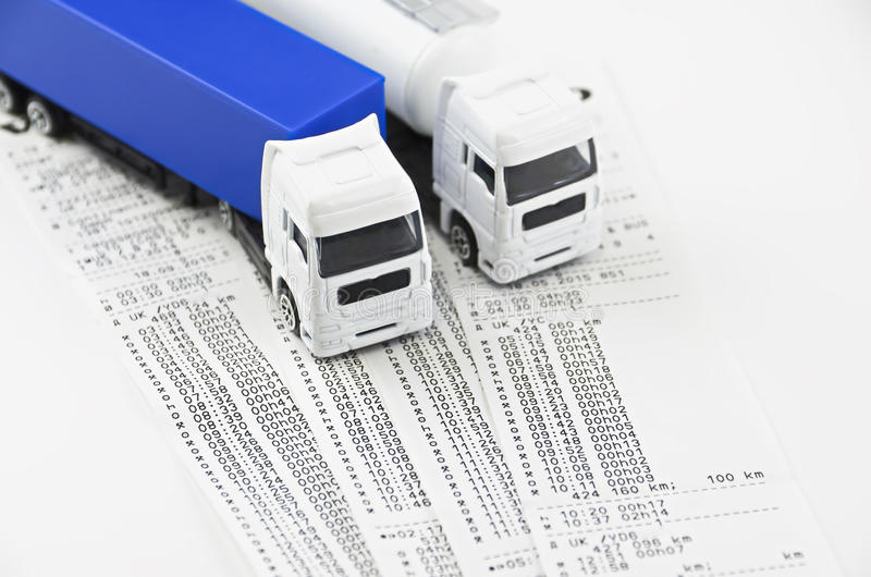 Digital tachograph printed day shift stock images