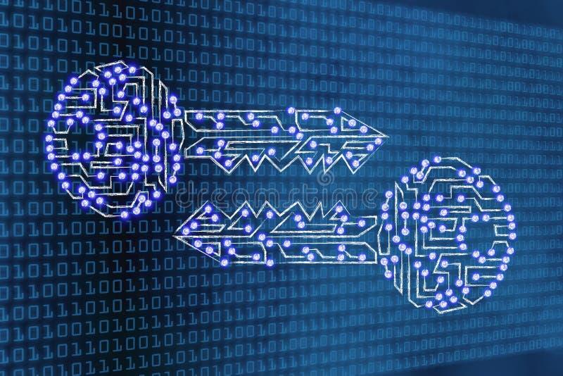 Digital tangenter med ledde ljus på bakgrund för binär kod stock illustrationer