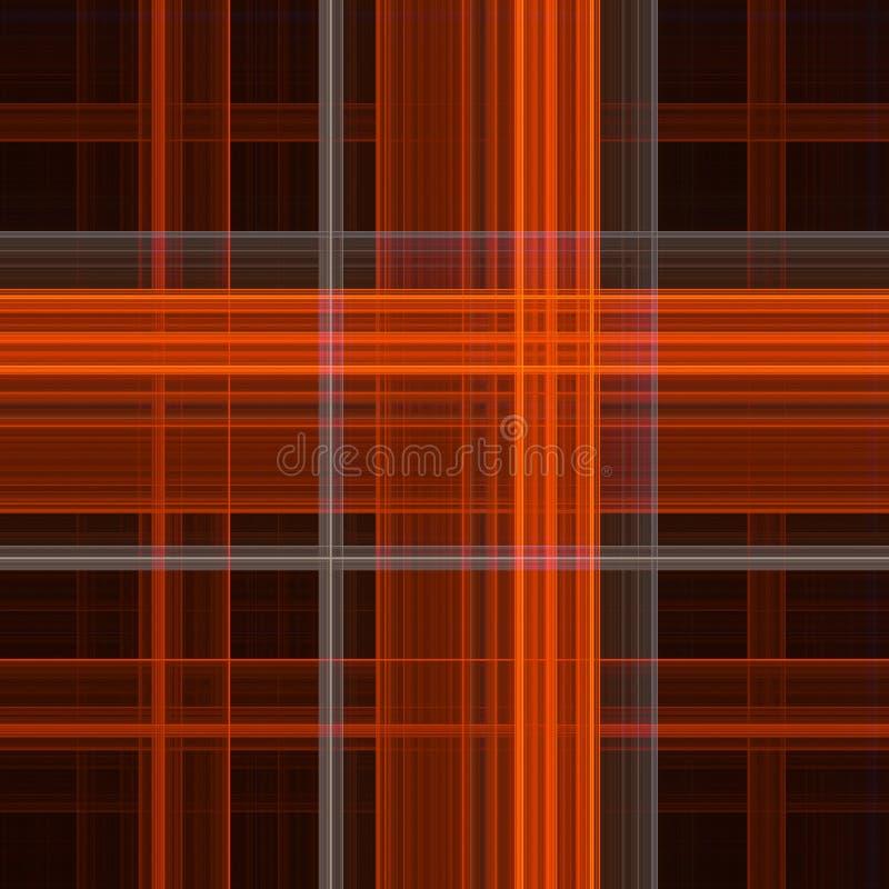 Digital tartan pattern. In oranges and black stock illustration