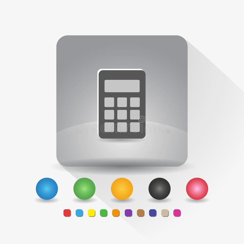Digital-Taschenrechnerikone Zeichensymbol App in der runden Ecke der grauen quadratischen Form mit langer Schattenvektorillustrat vektor abbildung
