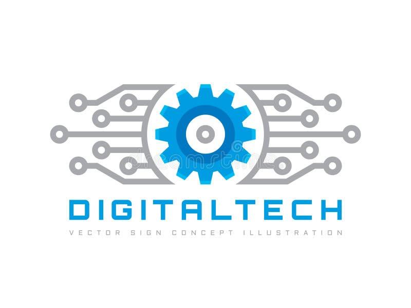 Digital tech - illustration för begrepp för mall för vektoraffärslogo Elektroniskt fabrikstecken för kugghjul Symbol för kuggehju vektor illustrationer