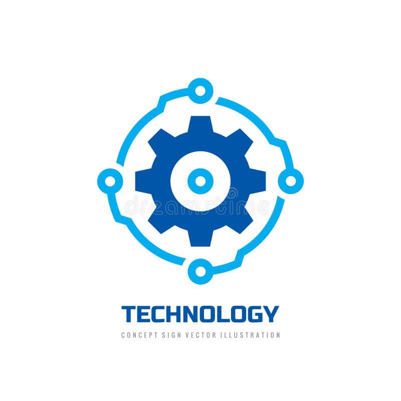 Digital tech - illustration f?r begrepp f?r mall f?r vektoraff?rslogo Elektroniskt fabrikstecken f?r kugghjul Symbol f?r kuggehju royaltyfri illustrationer