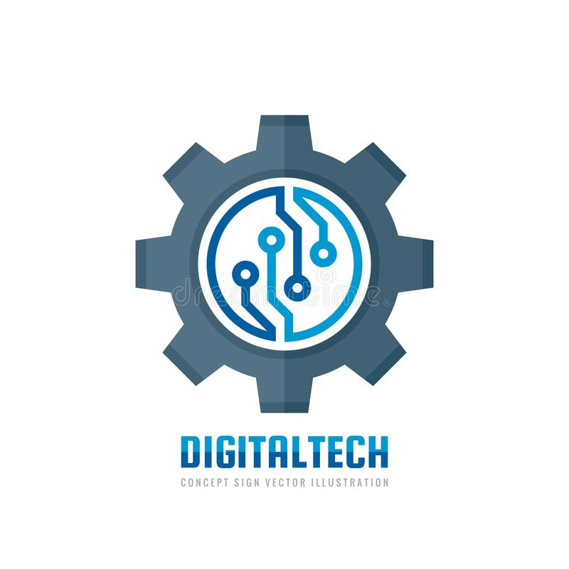 Digital tech - vector business logo template concept illustration. Gear electronic factory sign. Cog wheel technology symbol. SEO. Emblem. Design element stock illustration