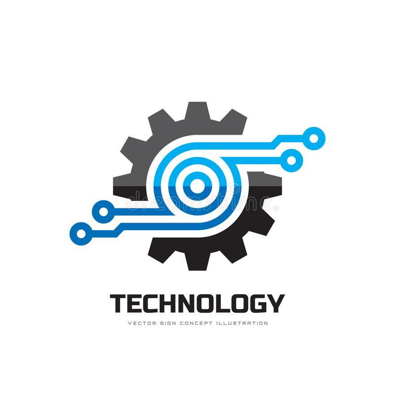 Digital tech - vector business logo template concept illustration. Gear electronic factory sign. Cog wheel technology symbol. SEO. Emblem. Design element royalty free illustration