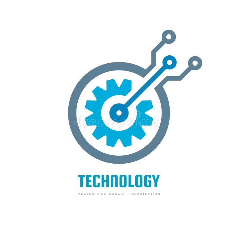 Digital tech - vector business logo template concept illustration. Gear electronic factory sign. Cog wheel technology symbol. SEO. Emblem. Design element royalty free illustration