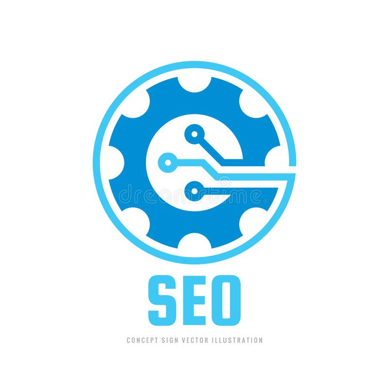 Digital tech - vector business logo template concept illustration. Gear electronic factory sign. Cog wheel technology symbol. SEO. Emblem. Design element vector illustration